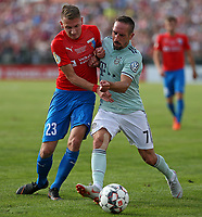18.08.2018, Football DFB Pokal 2018/2019, 1. round, SV Drochtersen Assel - FC Bayern Muenchen, Kehdinger stadium Drochtersen.  Julian Stoehr (SV Drochtersen-Assel)  -  and Franck Ribery (Bayern Muenchen)<br /><br /><br />***DFB rules prohibit use in MMS Services via handheld devices until two hours after a match and any usage on internet or online media simulating video foodaye during the match.*** *** Local Caption *** © pixathlon<br /> <br /> Contact: +49-40-22 63 02 60 , info@pixathlon.de