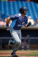 West Michigan Whitecaps third baseman Jordan Pearce (20) runs to first base during a game against the Quad Cities River Bandits on July 23, 2018 at Modern Woodmen Park in Davenport, Iowa.  Quad Cities defeated West Michigan 7-4.  (Mike Janes/Four Seam Images)