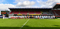 Both team line up's pictured at the start of  a female soccer game between Zulte Waregem and the KAA Gent Ladies on the fourth matchday of the 2020 - 2021 season of Belgian Scooore Womens Super League , saturday 10 October 2020  in Waregem , Belgium . PHOTO SPORTPIX.BE | SPP | DAVID CATRY