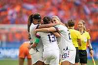 LYON, FRANCE - JULY 07: Jessica McDonald, Crystal Dunn and Abby Dahlkemper celebrate during a game between Netherlands and USWNT at Stade de Lyon on July 07, 2019 in Lyon, France.