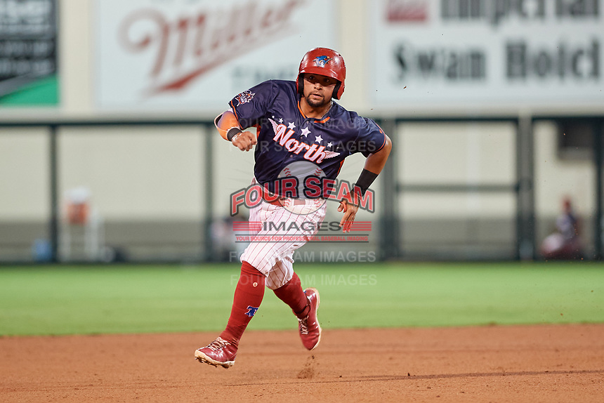 Clearwater Threshers Drew Stankiewicz (4) running the bases during the Florida State League All-Star Game on June 17, 2017 at Joker Marchant Stadium in Lakeland, Florida.  FSL North All-Stars defeated the FSL South All-Stars  5-2.  (Mike Janes/Four Seam Images)