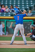 John Andreoli (7) of the Iowa Cubs at bat against the Salt Lake Bees in Pacific Coast League action at Smith's Ballpark on May 13, 2017 in Salt Lake City, Utah. Salt Lake defeated Iowa  5-4. (Stephen Smith/Four Seam Images)