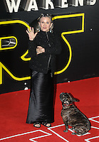 Actress Carrie Fisher during the STAR WARS: 'The Force Awakens' EUROPEAN PREMIERE at Odeon, Empire & Vue Cinemas, Leicester Square, England on 16 December 2015. Photo by David Horn / PRiME Media Images