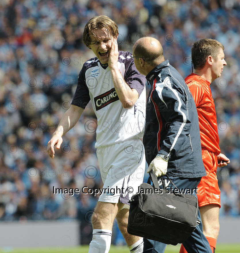 24/05/2008   Copyright Pic: James Stewart.File Name : sct_jspa28_qots_v_rangers.SASA PAPAC GETS A SORE FACE.James Stewart Photo Agency 19 Carronlea Drive, Falkirk. FK2 8DN      Vat Reg No. 607 6932 25.Studio      : +44 (0)1324 611191 .Mobile      : +44 (0)7721 416997.E-mail  :  jim@jspa.co.uk.If you require further information then contact Jim Stewart on any of the numbers above........