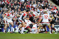 Will Fraser of Saracens scores a try with the help of the rest of the pack during the Heineken Cup quarter final match between Saracens and Ulster Rugby at Twickenham Stadium on Saturday 6th April 2013 (Photo by Rob Munro)