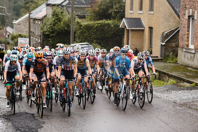 US Champion Ruth Winder (USA) Trek-Segafredo at the front of the peloton during La Fleche Wallonne Femmes 2020, running 124km from Huy to Mur de Huy, Belgium. 30th September 2020.<br /> Picture: ASO/Thomas Maheux | Cyclefile<br /> All photos usage must carry mandatory copyright credit (© Cyclefile | ASO/Thomas Maheux)