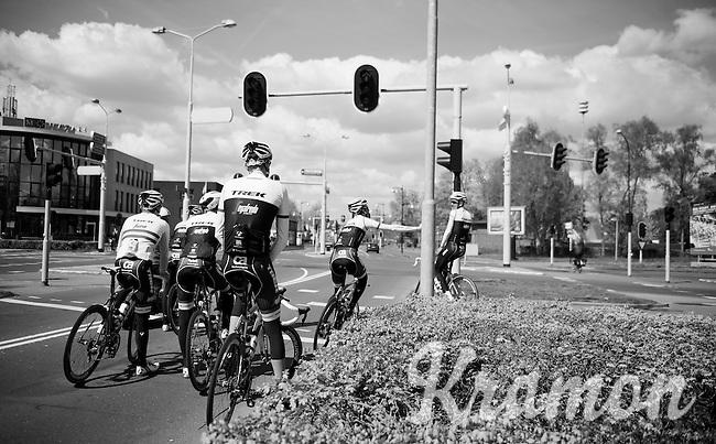 waiting at the traffic lights during the first pre-Giro training ride with Team Trek-Segafredo in Gelderland (The Netherlands)<br /> <br /> 99th Giro d'Italia 2016