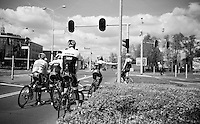 waiting at the traffic lights during the first pre-Giro training ride with Team Trek-Segafredo in Gelderland (The Netherlands)<br /> <br /> 99th Giro d'Italia 2016
