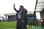 Blackburn Rovers 2 Aston Villa 0, 21/11/2010. Ewood Park, Premier League. New Blackburn Rovers owners Balaji and Venkatesh Rao (right) waving to the crowd at Ewood Park before the club played host to Aston Villa in a Barclays Premier League match. Blackburn won the match by two goals to nil watched by a crowd of 21,848. It was Rovers' first match under the ownership of Indian company Venky's. Photo by Colin McPherson.