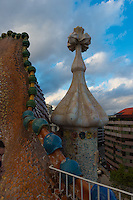 Roof of the House of Batllo (Casa de Batllo) in Barcelona, Spain