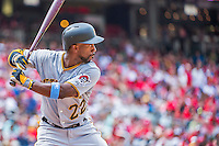 21 June 2015: Pittsburgh Pirates outfielder Andrew McCutchen at bat against the Washington Nationals at Nationals Park in Washington, DC. The Nationals defeated the Pirates 9-2 to sweep their 3-game weekend series, and improve their record to 37-33. Mandatory Credit: Ed Wolfstein Photo *** RAW (NEF) Image File Available ***