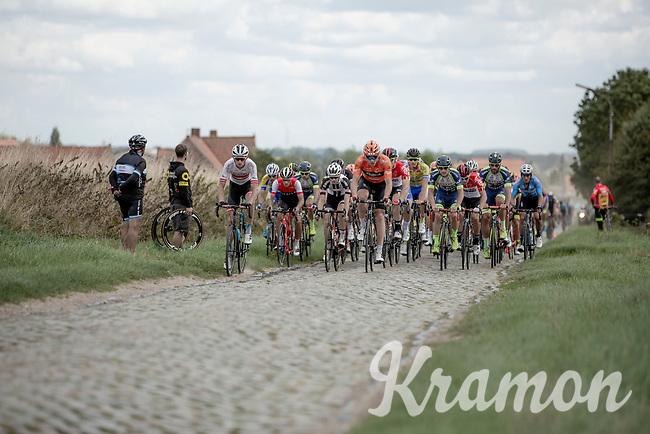 peloton riding the cobbles. <br /> <br /> 1st Great War Remembrance Race 2018 (UCI Europe Tour Cat. 1.1) <br /> Nieuwpoort > Ieper (BE) 192.7 km