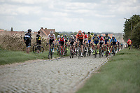 peloton riding the cobbles. <br /> <br /> 1st Great War Remembrance Race 2018 (UCI Europe Tour Cat. 1.1) <br /> Nieuwpoort > Ieper (BE) 192.7 km