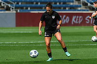 BRIDGEVIEW, IL - JULY 18: Bianca St. Georges #22 of the Chicago Red Stars warms up before a game between OL Reign and Chicago Red Stars at SeatGeek Stadium on July 18, 2021 in Bridgeview, Illinois.
