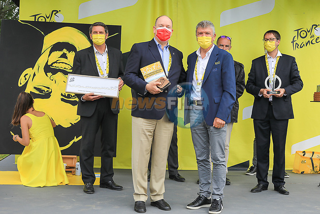 Bernard Thevenet ASO and Prince Albert II of Monaco in the Tour Village before Stage 2 of the 2021 Tour de France, running 183.5km from Perros-Guirec to Mur-de-Bretagne Guerledan, France. 27th June 2021.  <br /> Picture: A.S.O./Hervé Tarrieu | Cyclefile<br /> <br /> All photos usage must carry mandatory copyright credit (© Cyclefile | A.S.O./Hervé Tarrieu)