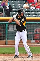 Grant Green (6) of the Salt Lake Bees at bat against the Memphis Redbirds at Smith's Ballpark on June 18, 2014 in Salt Lake City, Utah.  (Stephen Smith/Four Seam Images)