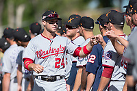 Salt River Rafters infielder Carter Kieboom (24), of the Washington Nationals organization, during player introductions before the Arizona Fall League Championship game against the Peoria Javelinas at Scottsdale Stadium on November 17, 2018 in Scottsdale, Arizona. Peoria defeated Salt River 3-2 in extra innings. (Zachary Lucy/Four Seam Images)