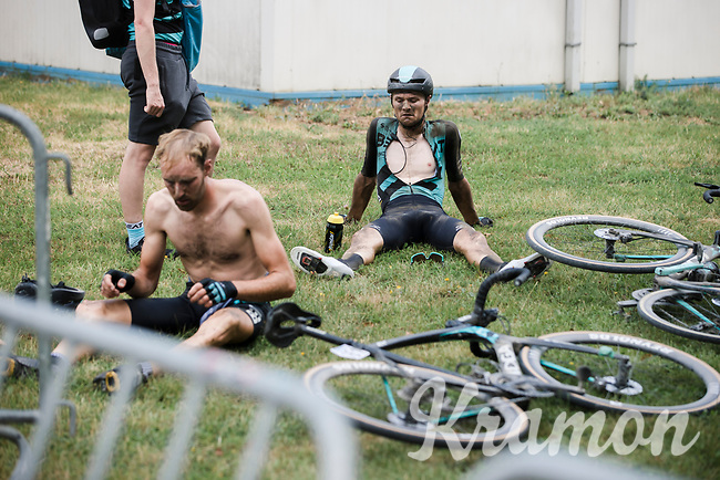 post race exhausted Team Beat Cycling Club riders<br /> <br /> <br /> Dwars Door Het Hageland 2020<br /> One Day Race: Aarschot – Diest 180km (UCI 1.1)<br /> Bingoal Cycling Cup 2020