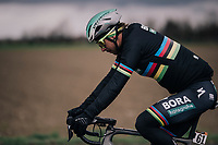 World Champion Peter Sagan (SVK/Bora-Hansgrohe) in a 'black-rainbow' rainjacket<br /> <br /> 109th Milano-Sanremo 2018<br /> Milano > Sanremo (291km)