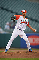 """Buffalo Bisons relief pitcher Matt Dermody (45) during an International League game against the Scranton/Wilkes-Barre RailRiders on June 5, 2019 at Sahlen Field in Buffalo, New York.  The Bisons wore special uniforms as they played under the name the """"Buffalo Wings"""". Scranton defeated Buffalo 3-0, the first game of a doubleheader. (Mike Janes/Four Seam Images)"""