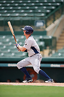 GCL Rays center fielder Jake Stone (8) follows through on a swing during a game against the GCL Orioles on July 21, 2017 at Ed Smith Stadium in Sarasota, Florida.  GCL Orioles defeated the GCL Rays 9-0.  (Mike Janes/Four Seam Images)
