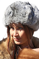 Participant of the finest Russian girl living in Switzerland posing in St. Moritz during the White Turf Event