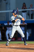 Kevin Santiago (22) of the Princeton Rays at bat against the Danville Braves at American Legion Post 325 Field on June 25, 2017 in Danville, Virginia.  The Braves walked-off the Rays 7-6 in 11 innings.  (Brian Westerholt/Four Seam Images)