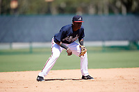 Atlanta Braves JC Encarnacion (45) during an Instructional League game against the Detroit Tigers on October 10, 2017 at the ESPN Wide World of Sports Complex in Orlando, Florida.  (Mike Janes/Four Seam Images)
