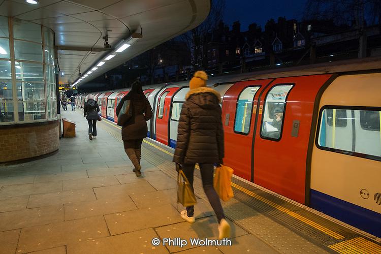 Jubilee line passengers at West Hampstead tube station, London.