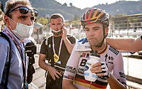 in the race finale Maximilian Schachmann (DEU/Bora-Hansgrohe) was hit (and crashed) by a car from a confused elderly lady, he then crossed the finish line (7th) where it became clear he broke his collarbone in the incident<br /> <br /> 114th Il Lombardia 2020 (1.UWT)<br /> 1 day race from Bergamo to Como (ITA/231km) <br /> <br /> ©kramon