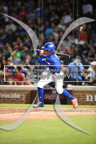 Raynel Delgado (3) of Calvary Christian Academy in Miami Lakes, Florida during the Under Armour All-American Game presented by Baseball Factory on July 29, 2017 at Wrigley Field in Chicago, Illinois.  (Mike Janes/Four Seam Images)