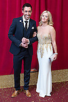 © Licensed to London News Pictures . 16/05/2015 .  The Palace Hotel , Manchester , UK . Ross Adams and Alex Fletcher . The red carpet at the 2015 British Soap Awards , The Palace Hotel , Oxford Road , Manchester . Photo credit : Joel Goodman/LNP