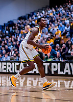 12 March 2019: University of Vermont Catamount Forward Ra Kpedi, a Sophomore from Indianapolis, IN, in action against the Binghamton University Bearcats at Patrick Gymnasium in Burlington, Vermont. The top-seeded Catamounts advanced to their fourth-straight America East conference championship game, defeating the Bearcats 84-51. Mandatory Credit: Ed Wolfstein Photo *** RAW (NEF) Image File Available ***