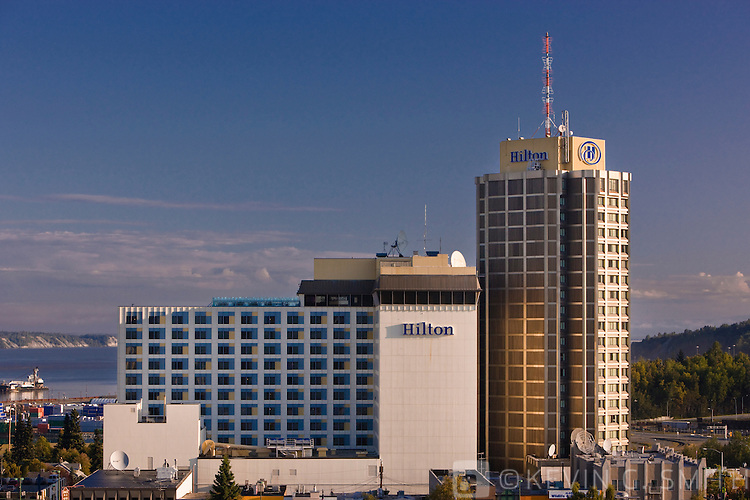 A rooftop view of the Hilton Hotel in Anchorage, summer, Southcentral Alaska, USA.