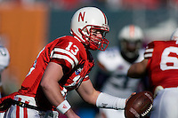 01 January 2007: Nebraska quarterback Zac Taylor (#13) looks to hand off the ball during the 2007 AT&T Cotton Bowl Classic between The University of Auburn and The University of Nebraska at The Cotton Bowl in Dallas, TX.