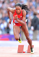 August 05, 2012..Lashinda Demus competes in round one of Women's 400m hurdles at the Olympic Stadium on day nine of 2012 Olympic Games in London, United Kingdom.