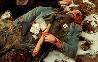 RUGOVO / KOSOVO - 29 GENNAIO 1999.NEL VILLAGGIO DI RUGOVO, NEI PRESSI DEL CONFINE ALBANESE, OPERAVA DA MESI UNA BANDA DI GUERRIGLIERI DELL'UCK. DURANTE UN RASTRELLAMENTO DELL'ESERCITO JUGOSLAVO, PERDONO LA VITA 24 UOMINI DI ETNIA ALBANESE E 3 SOLDATI GOVERNATIVI. PER I POCHI GIORNALISTI E MONITORS DELL'OSCE ERA CHIARO CHE SI TRATTASSE DI UNO SCONTRO A FUOCO TRA ESERCITO E GUERRIGLIA MA SUI GIORNALI DI MEZZO MONDO SI PARLO' DI 'ENNESIMA STRAGE DI CIVILI' GIUSTIFICANDO IL POSSIBILE INTERVENTO DELLA NATO CONTRO LA SERBIA DI MILOSEVIC..FOTO LIVIO SENIGALLIESI..RUGOVO / KOSOVO - 29 JANUARY 1999.IN THE LITTLE VILLAGE NEAR ALBANIAN BORDER, KLA GUERRILLA GROUP HAS BEEN ACTIVE FOR MONTHS. DURING A JUGOSLAV ARMY MOPPING UP OPERATION, 24 MEMBERS OF KLA HAVE BEEN KILLED TOGETHER WITH 3 JUGOSLAV SOLDIERS. FOR THE FEW JOURNALISTS PRESENT ON THE GROUND AND FOR THE OSCE MONITORS IT WAS CLEARLY A BATTLE AMONG ARMED GROUPS BUT ON THE LOCAL AND INT'L MEDIA WAS REPORTED 'ANOTHER MASSACRE OF CIVILIANS'JUSTIFYING POSSIBLE NATO INTERVENTION AGAINST SERBIA AND MILOSEVIC..PROPAGANDA AND DISINFORMATION HAVE BEEN VERY ACTIVE DURING THE WAR IN KOSOVO..PHOTO LIVIO SENIGALLIESI