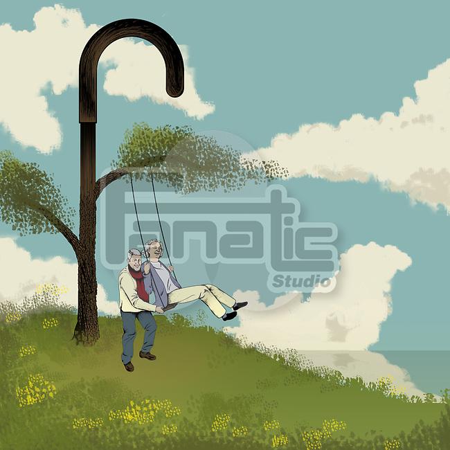 Senior couple swinging