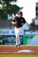 Batavia Muckdogs first baseman Ben Fisher (36) running the bases after hitting his first professional home run during a game against the Tri-City ValleyCats on July 15, 2017 at Dwyer Stadium in Batavia, New York.  Tri-City defeated Batavia 5-4.  (Mike Janes/Four Seam Images)