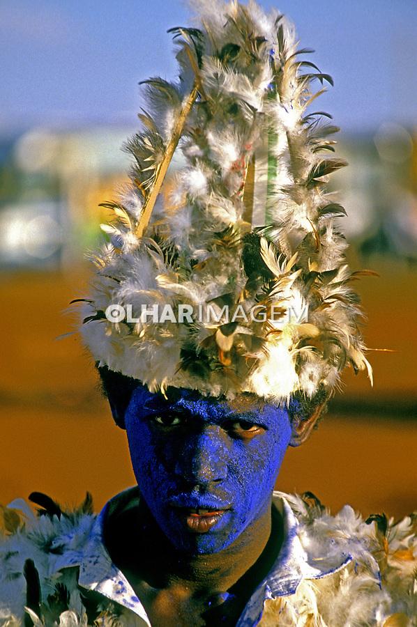 Rosto de criança, Caiapós em Olimpia, São Paulo. 1985. Foto de Juca Martins.