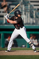 Modesto Nuts left fielder Logan Taylor (3) at bat during a California League game against the San Jose Giants at John Thurman Field on May 9, 2018 in Modesto, California. San Jose defeated Modesto 9-5. (Zachary Lucy/Four Seam Images)