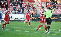 KV Kortrijk - AA Gent : Nebojsa Pavlovic scoort de 1-0 voor kortrijk. Pablo Chavarria viert mee.foto VDB / BART VANDENBROUCKE