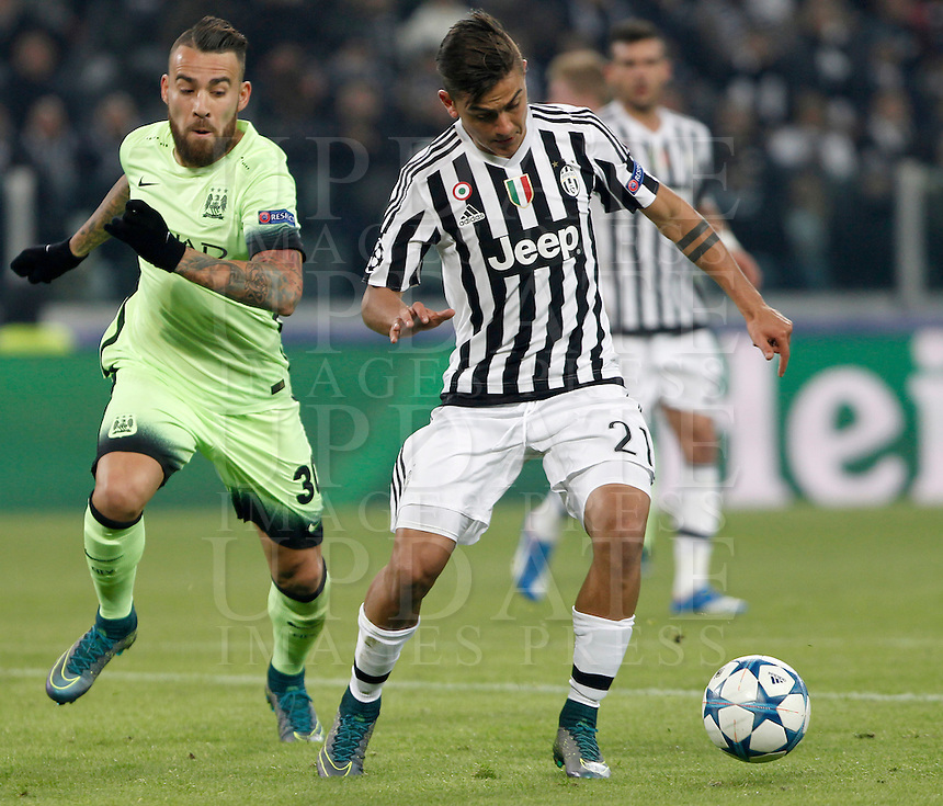 Calcio, Champions League: Gruppo D - Juventus vs Manchester City. Torino, Juventus Stadium, 25 novembre 2015. <br /> Juventus' Paulo Dybala, right, is challenged by Manchester City's Nicolas Otamendi during the Group D Champions League football match between Juventus and Manchester City at Turin's Juventus Stadium, 25 November 2015. <br /> UPDATE IMAGES PRESS/Isabella Bonotto
