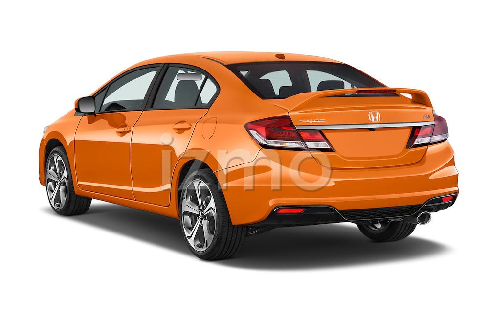 Car pictures of rear three quarter view of a 2015 Honda Civic Si 4 Door Sedan angular rear
