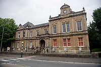 BNPS.co.uk (01202) 558833<br /> Pic: ZacharyCulpin/BNPS<br /> <br /> Pictured: Frome Town Hall<br /> <br /> At 6ft 9in tall, dressed all in black, with a big beard and wearing wayfarer shades, Andy Wrintmore does not look like your typical mayor.<br /> <br /> But the 29-year-old hardcore punk rock drummer is a big hit with old and young constituents in his hometown of Frome, Somerset.<br /> <br /> Andy, a member of punk band SickOnes, was elected to the town council by a landslide vote in 2019 and chosen to become the town's mayor in May this year.<br /> <br /> He has earned the moniker the 'punk rock mayor of Frome' and has even been interviewed by Kerrang magazine about his new career - cutting ribbons and meeting local community groups.
