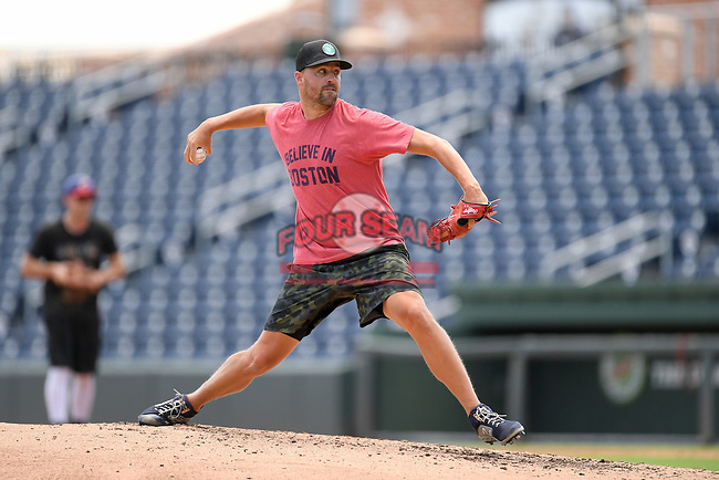 """Boston Red Sox pitcher Heath Hembree throws in a """"Sandlot""""-style game on Thursday, June 25, 2020, at Fluor Field at the West End in Greenville, South Carolina. Team workouts have been shut down during the coronavirus pandemic, so this group began working out in game situation simulations a couple of days a week. Hembree has spent seven seasons in the majors, mostly with Boston. He has played with Broome High, Spartanburg Methodist and College of Charleston. (Tom Priddy/Four Seam Images)"""