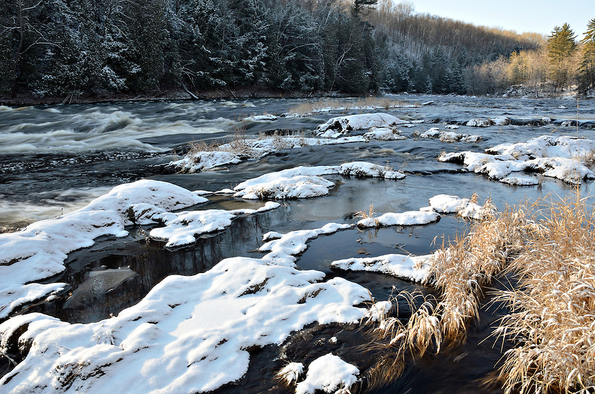 An early morning scene on the Menominee River at Piers Gorge. Norway, MI
