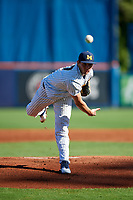 Michigan Wolverines starting pitcher Karl Kauffmann (37) delivers a pitch during a game against Army West Point on February 18, 2018 at Tradition Field in St. Lucie, Florida.  Michigan defeated Army 7-3.  (Mike Janes/Four Seam Images)
