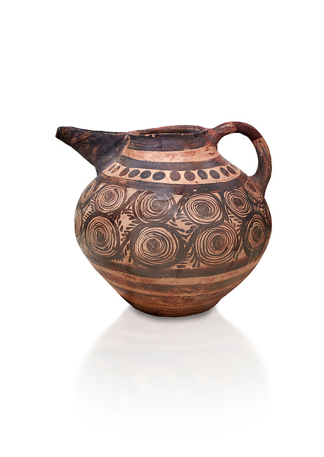 Minoan bridge spouted jug with spiral decorations, Akrotiri, Thira (Santorini) National Archaeological Museum Athens. 17th-16th cent BC.