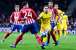 Atletico de Madrid Jose Maria Gimenez and Borussia Dortmund Paco Alcacer during group stage of UEFA Champions League match between Atletico de Madrid and Borussia Dortmund at Wanda Metropolitano in Madrid, Spain.November 06, 2018. (ALTERPHOTOS/Borja B.Hojas)